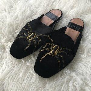Zara velvet spider mules 38